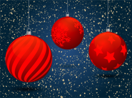 Hanging Red Christmas Balls with Patterns