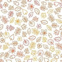 Autumn leaves outline seamless pattern