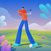 golfista, golpear pelota, en, el, curso vector