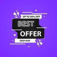 Purple social media best offer post template vector