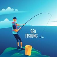 homem pescando no mar