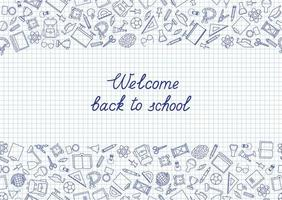 Back to School hand drawn elements on grid texture vector