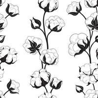 bola de algodón, planta, floral, seamless, patrón