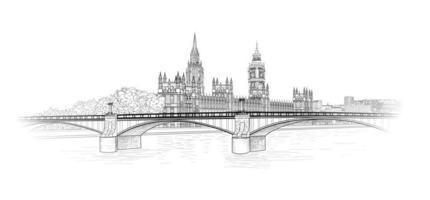 London city skyline in outline style vector