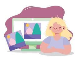 mujer joven creativa con arte digital vector