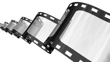 Bucle de animación de tira de película 3D sobre blanco.