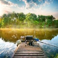 Fishing on pond photo