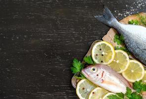 Fresh fish on dark vintage background