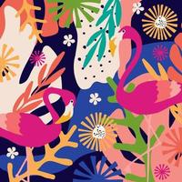 Tropical flowers and leaves poster vector