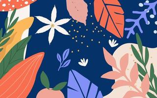Leaves and flowers poster background vector
