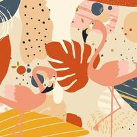 Tropical flowers and leaves poster with flamingos vector