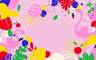Pink flamingos banner vector