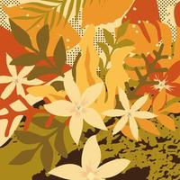 Colorful leaves and flowers poster background vector