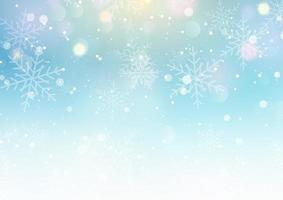 Christmas bokeh background with falling snowflakes vector