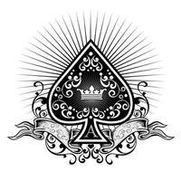 Ace of spades, grunge vintage design vector