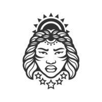 mujer afro negra vector