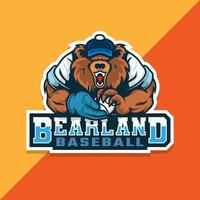Bear holding ball of baseball vector