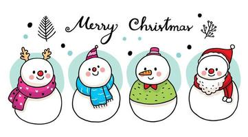 Cute snowmen wearing scarf