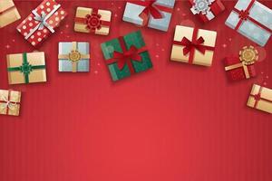 cajas de regalo de navidad sobre fondo rojo vector