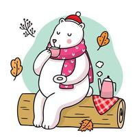 Cartoon polar bear drinking tea in the forest
