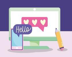 Digital communication and social media concept