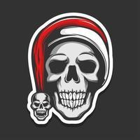 Skull wearing Santa Claus hat vector