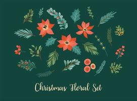 elementos florais de natal