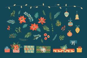 Christmas floral elements. vector