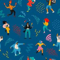 Pattern with funny dancing men and women