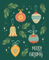 Christmas and Happy New Year elements vector