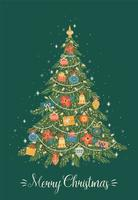 Merry Christmas greeting card on green background vector