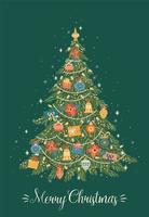 feliz navidad, tarjeta de felicitación, en, fondo verde vector