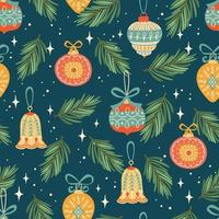 Christmas and Happy New Year pattern vector