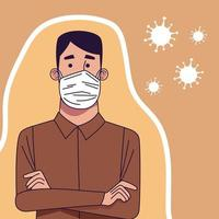 Young man wearing medical mask character vector