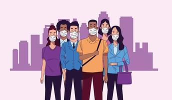 jóvenes interraciales con personajes de máscaras médicas