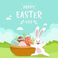 Happy Easter scene with eggs in basket and bunny vector