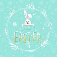 Happy Easter decorative card with leaf wreath and rabbit vector