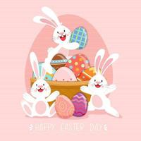 Happy Easter poster with decorated eggs and rabbits vector