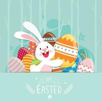Happy Easter poster with decorated eggs and bunny vector