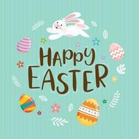 conejo y huevos decorados alrededor del texto feliz pascua vector
