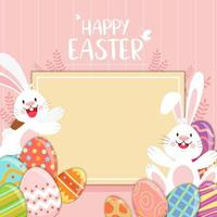 Happy Easter blank sign with rabbits and decorated eggs vector