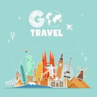World Travel Landmark Design vector