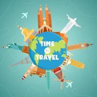 tiempo para viajar concepto con puntos de referencia en todo el mundo vector