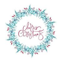 Merry Christmas text in floral winter wreath