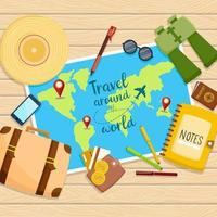 World travel concept with top view of travel supplies vector