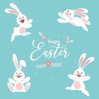 Happy Easter poster with white rabbits in different poses vector