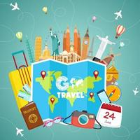 Go travle concept with map, supplies and landmarks