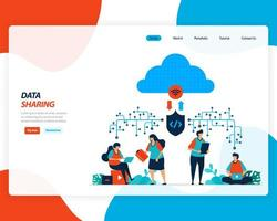 Cloud data sharing technology 4.0, remote workers design vector
