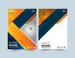 Plantilla moderna de folleto de diseño de ángulo naranja y azul vector