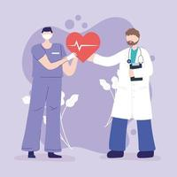 Physician and nurse holding a heart with pulse